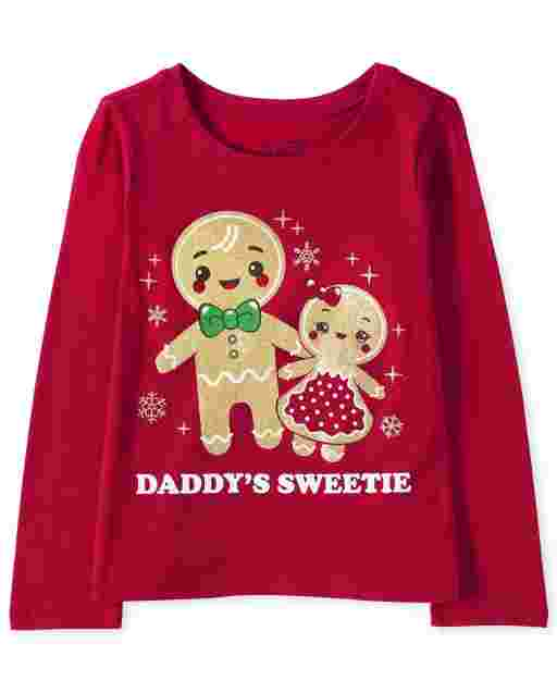Baby And Toddler Girls Christmas Long Sleeve Glitter 'Daddy's Sweetie' Gingerbread Cookies Graphic Tee