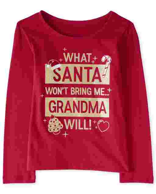 Baby And Toddler Girls Christmas Long Sleeve Glitter Grandma Graphic Tee