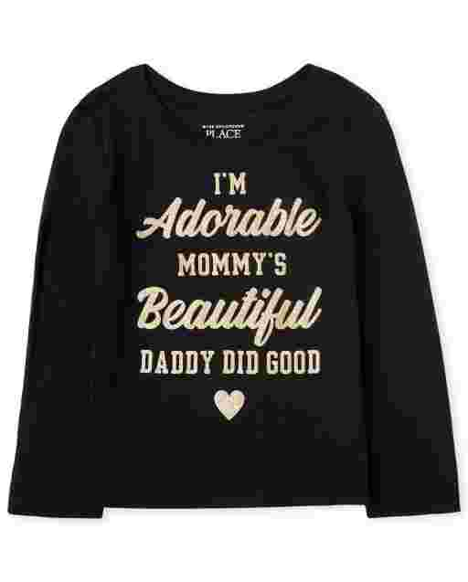 Baby And Toddler Girls Long Sleeve 'I'm Adorable Mommy's Beautiful Daddy Did Good' Graphic Tee