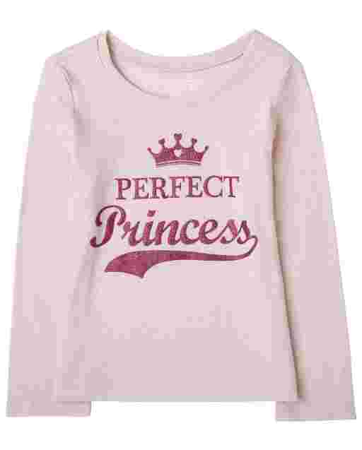 Baby And Toddler Girls Long Sleeve 'Perfect Princess' Graphic Tee