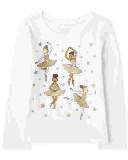Camiseta estampada de bailarina de manga larga para bebés y niñas pequeñas