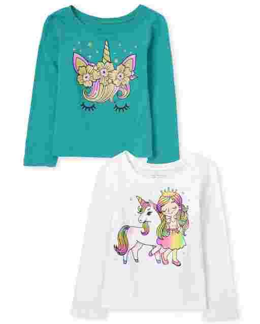 Paquete de 2 camisetas con estampado de unicornio de manga larga para bebés y niñas pequeñas