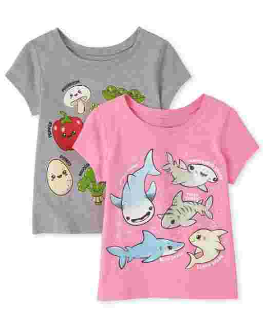 Baby And Toddler Girls Short Sleeve  Veggies And Shark Graphic Tee 2-Pack