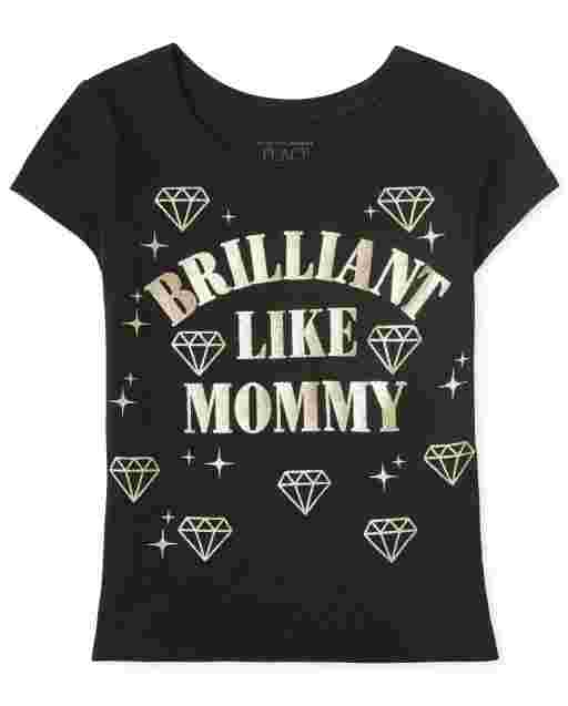 Baby And Toddler Girls Short Sleeve 'Brilliant Like Mommy' Graphic Tee