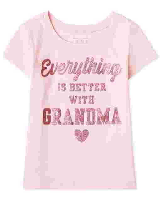 Baby And Toddler Girls Short Sleeve 'Everything Is Better With Grandma' Graphic Tee
