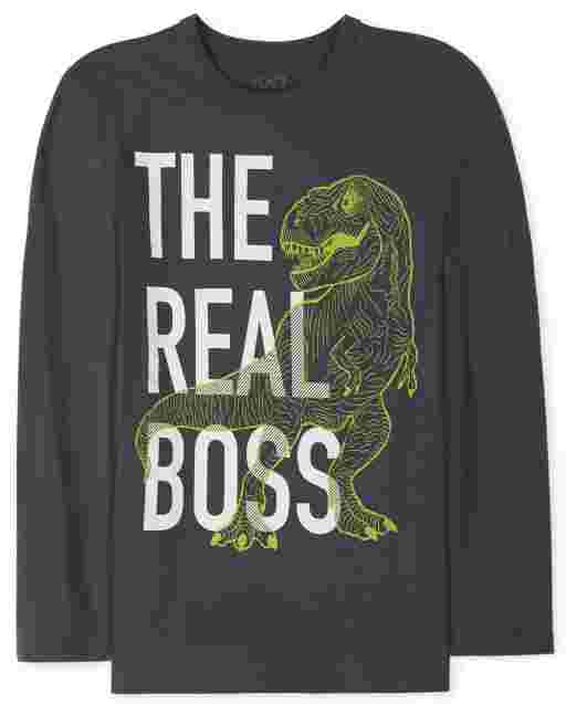 Boys Long Sleeve 'The Real Boss' Dino Graphic Tee