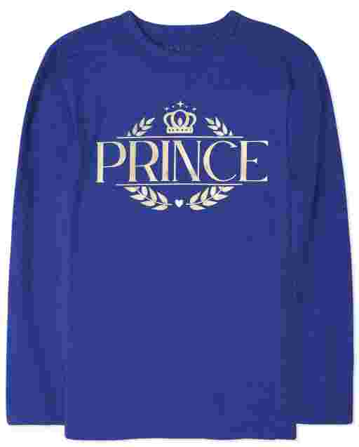 Boys Matching Family Long Sleeve Foil 'Prince' Royal Graphic Tee