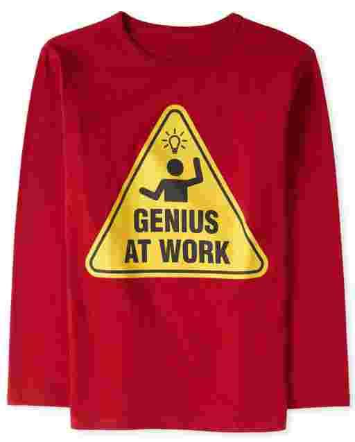Boys Long Sleeve 'Genius At Work' Graphic Tee