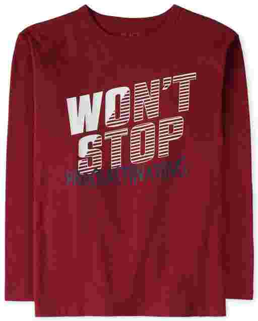 Boys Long Sleeve 'Won't Stop Procrastinating' Graphic Tee