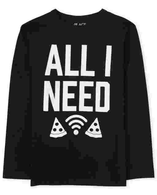 Boys Long Sleeve 'All I Need' Pizza Wifi Graphic Tee