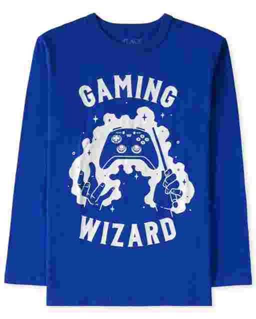 Boys Long Sleeve 'Gaming Wizard' Video Game Graphic Tee
