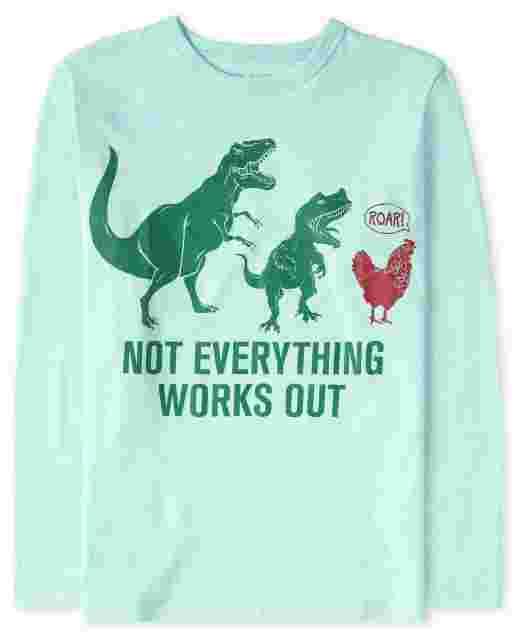Boys Long Sleeve 'Not Everything Works Out' Chicken Dino Graphic Tee