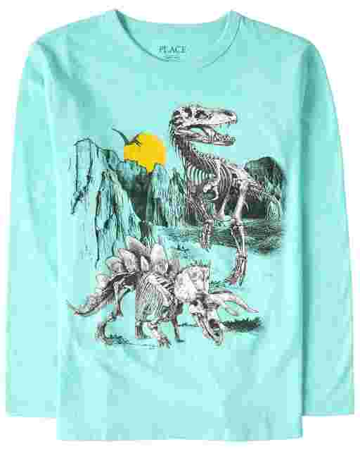 Boys Long Sleeve Dino Skeletons Graphic Tee