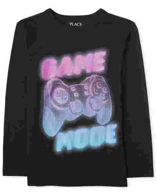 Boys Long Sleeve 'Game Mode' Video Game Graphic Tee