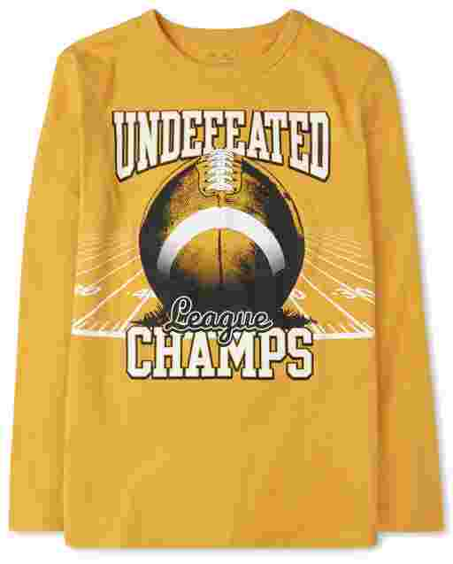 Boys Long Sleeve 'Undefeated Champs' Football Graphic Tee