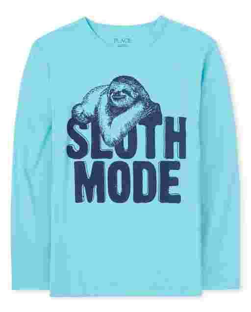 Boys Long Sleeve 'Sloth Mode' Graphic Tee