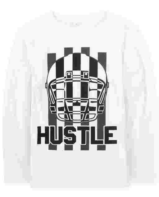 Boys Long Sleeve 'Hustle' Football Graphic Tee