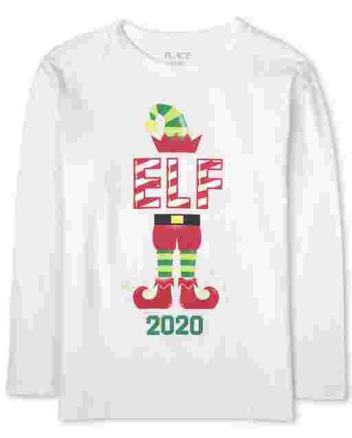 Boys Matching Family Christmas Long Sleeve 'Elf 2020' Graphic Tee