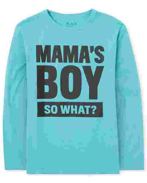 Boys Long Sleeve 'Mama's Boy So What' Graphic Tee