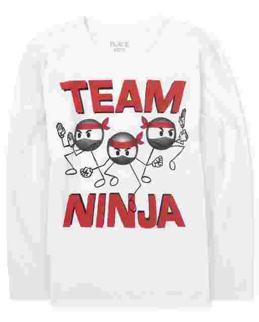 Boys Long Sleeve 'Team Ninja' Graphic Tee