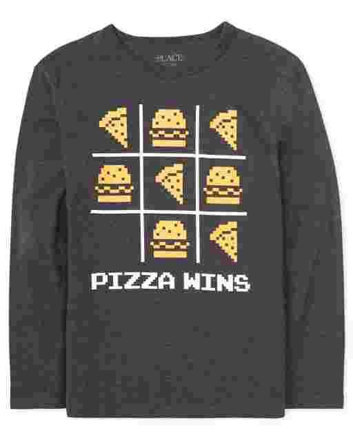 Boys Long Sleeve 'Pizza Wins' Graphic Tee