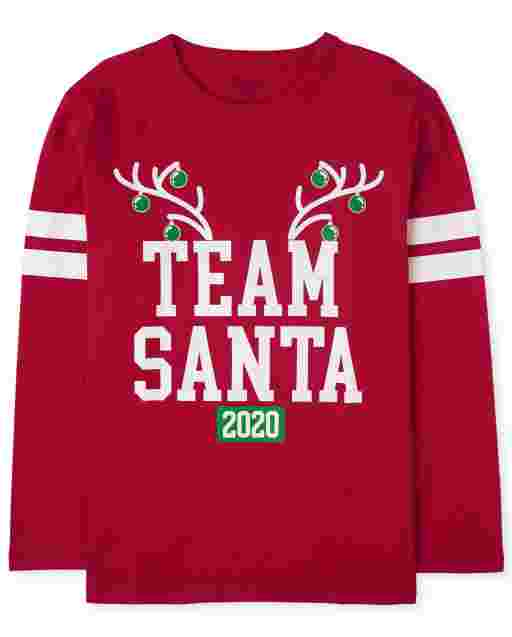 Unisex Kids Matching Family Christmas Long Sleeve 'Team Santa 2020' Graphic Tee