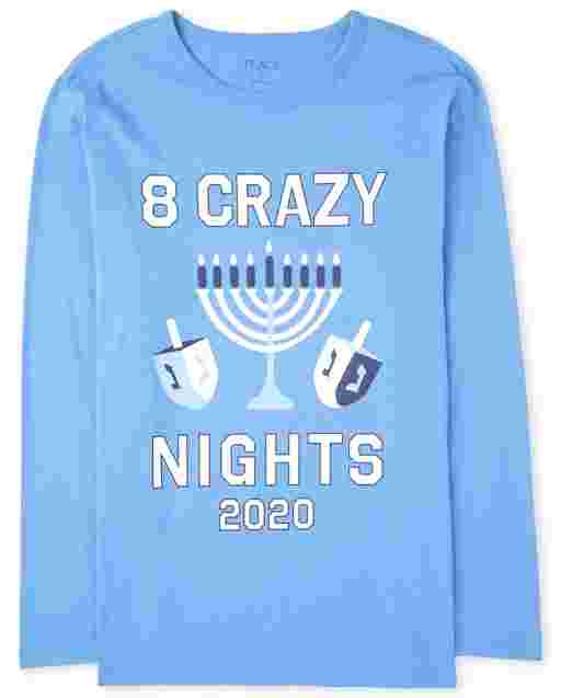 Unisex Adult Matching Family Hanukkah Long Sleeve '8 Crazy Nights 2020' Graphic Tee