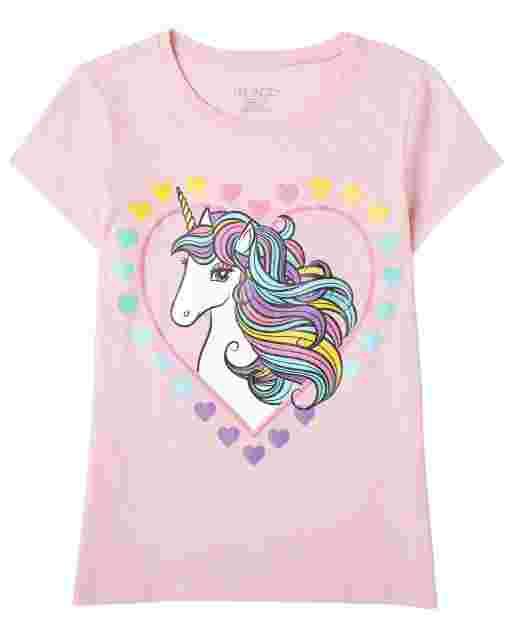 Girls Short Sleeve Unicorn Heart Graphic Tee