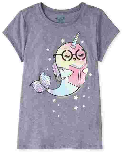 Girls Short Sleeve Reading Narwhal Graphic Tee
