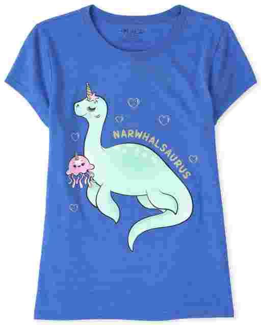 Girls Short Sleeve Glitter Narwhal Dino Graphic Tee