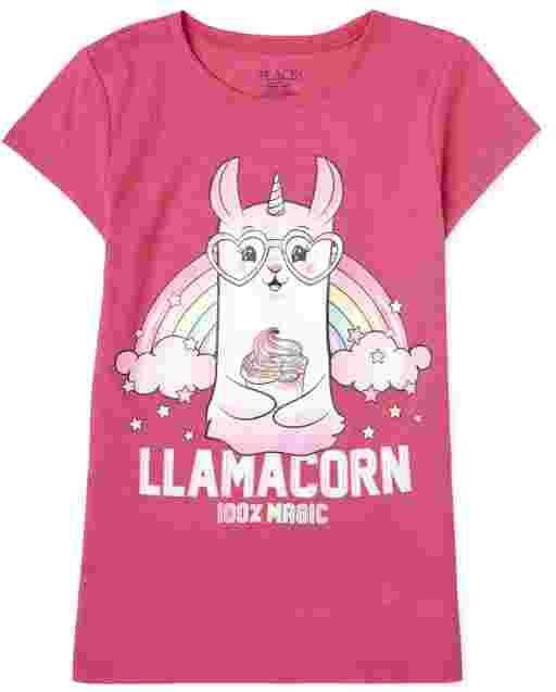 Girls Short Sleeve 'Llamacorn 100% Magic' Graphic Tee