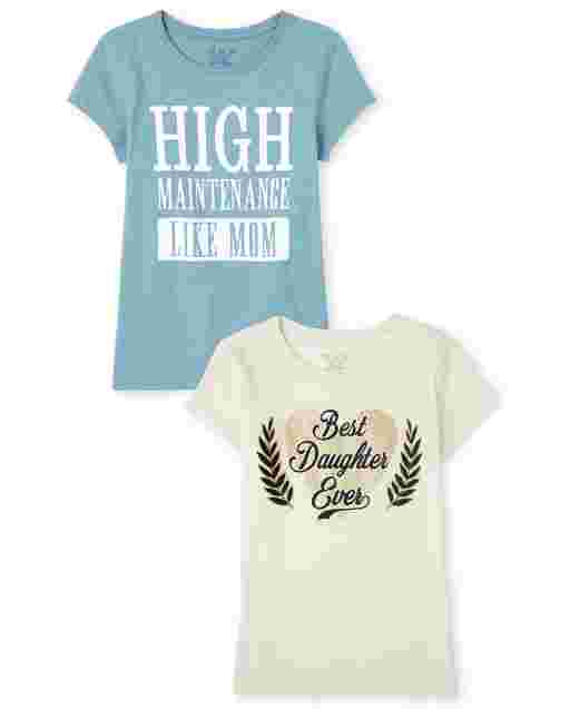 Girls Short Sleeve 'High Maintenance Like Mom' and 'Best Daughter Ever' Graphic Tee 2-Pack