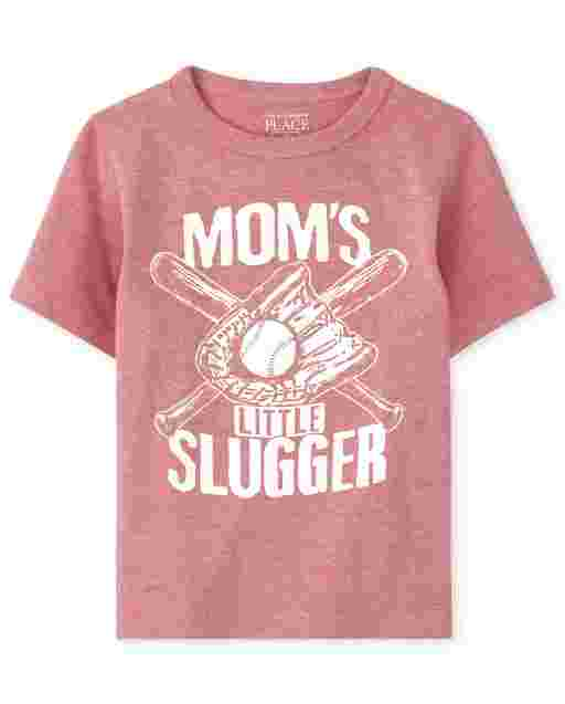 Baby And Toddler Boys Short Sleeve 'Mom's Little Slugger' Baseball Graphic Tee