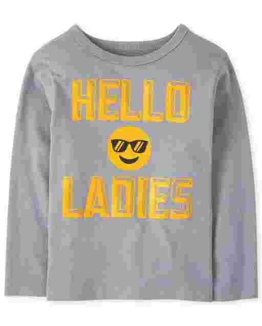Camiseta con estampado ' emoji de manga larga para bebés y niños pequeños ' Hello Ladies '
