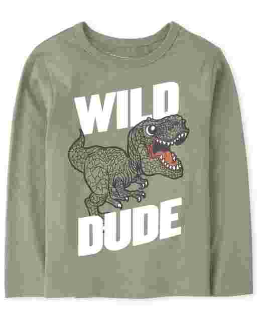 Baby And Toddler Boys Long Sleeve 'Wild Dino' Graphic Tee