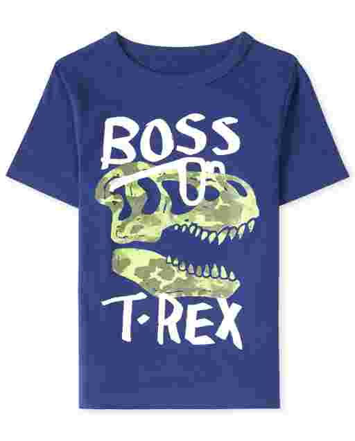 Baby And Toddler Boys Short Sleeve 'Boss T-Rex' Dino Graphic Tee