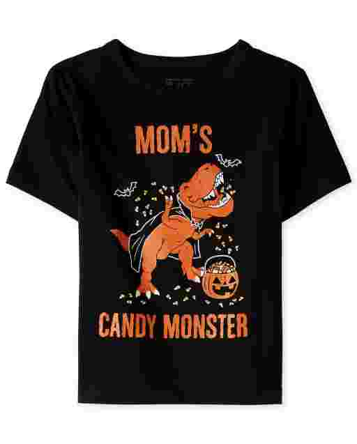 Camiseta de manga corta de Halloween para bebés y niños pequeños ' Mom ' s Candy Monster ' Dino Graphic Tee