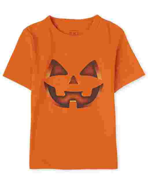 Camiseta estampada de calabaza de manga corta de Halloween para bebés y niños pequeños