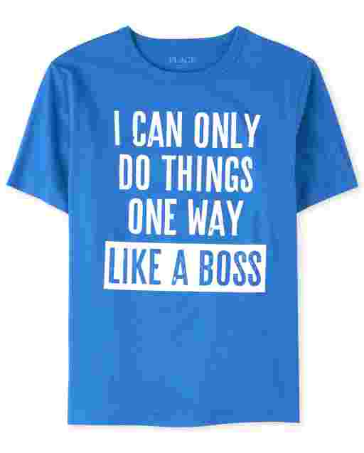 Boys Short Sleeve 'I Can Only Do Things One Way Like A Boss' Graphic Tee