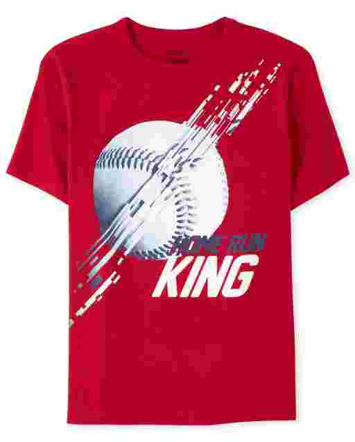 Boys Short Sleeve 'Home Run King' Baseball Graphic Tee
