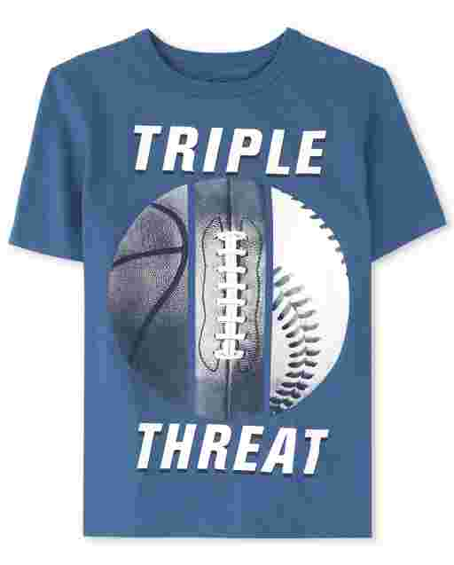Boys Short Sleeve 'Triple Threat' Sports Graphic Tee