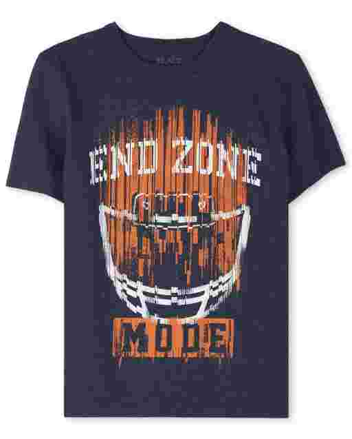 Boys Short Sleeve 'End Zone Mode' Football Graphic Tee