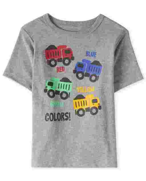 Camiseta estampada Truck Colors de manga corta para bebés y niños pequeños