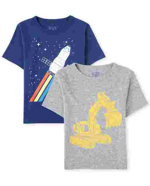 Baby And Toddler Boys Short Sleeve Transportation Graphic Tee 2-Pack