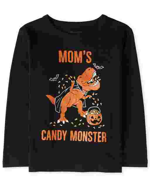 Baby And Toddler Boys Halloween Long Sleeve 'Mom's Candy Monster' Dino Graphic Tee