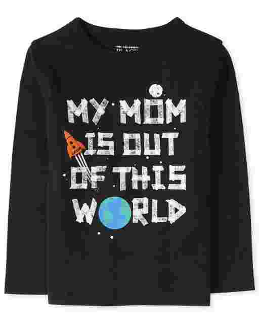 Camiseta estampada de manga larga para bebés y niños pequeños ' Mi mamá está fuera de este mundo '