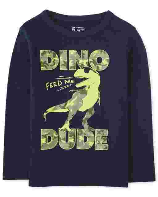 Camiseta estampada ' Dino Dude ' manga larga para bebés y niños pequeños