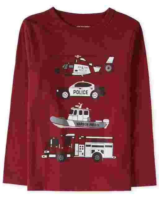 Camiseta estampada de vehículos de rescate de manga larga para bebés y niños pequeños