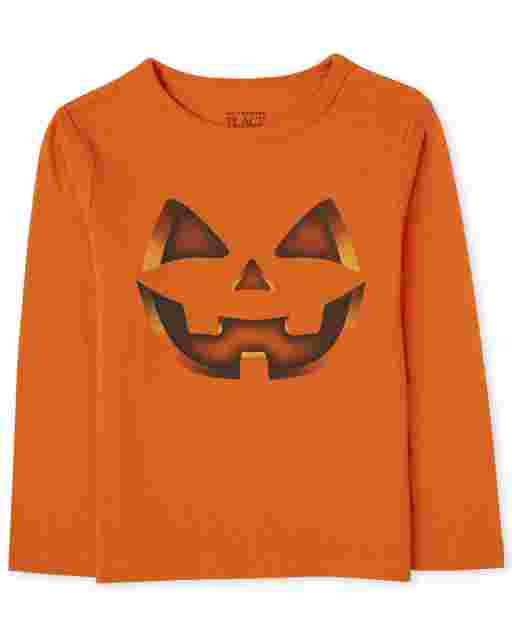 Baby And Toddler Boys Halloween Long Sleeve Pumpkin Graphic Tee