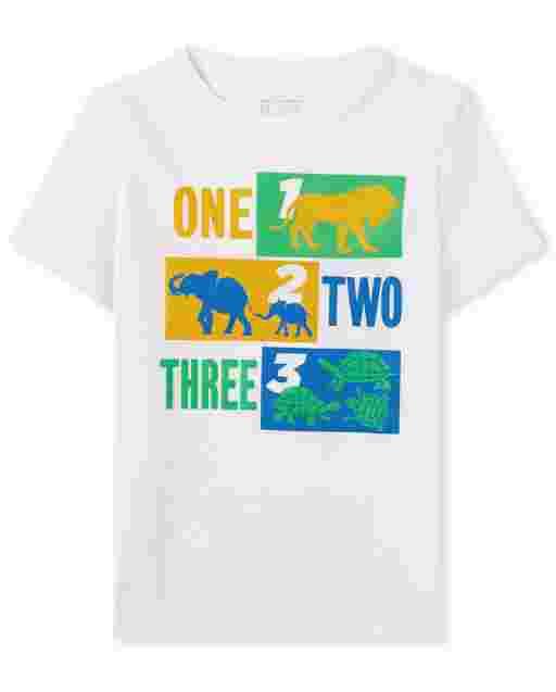Bebé Y los muchachos del niño de manga corta ' 123 ' Camiseta gráfica
